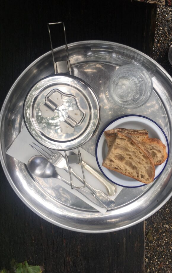 A tiffin tin full of lunch from Leila's kitchen in Shoreditch.