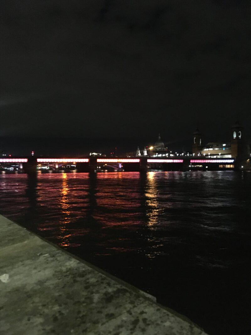 Late night looking at Southwark Bridge.