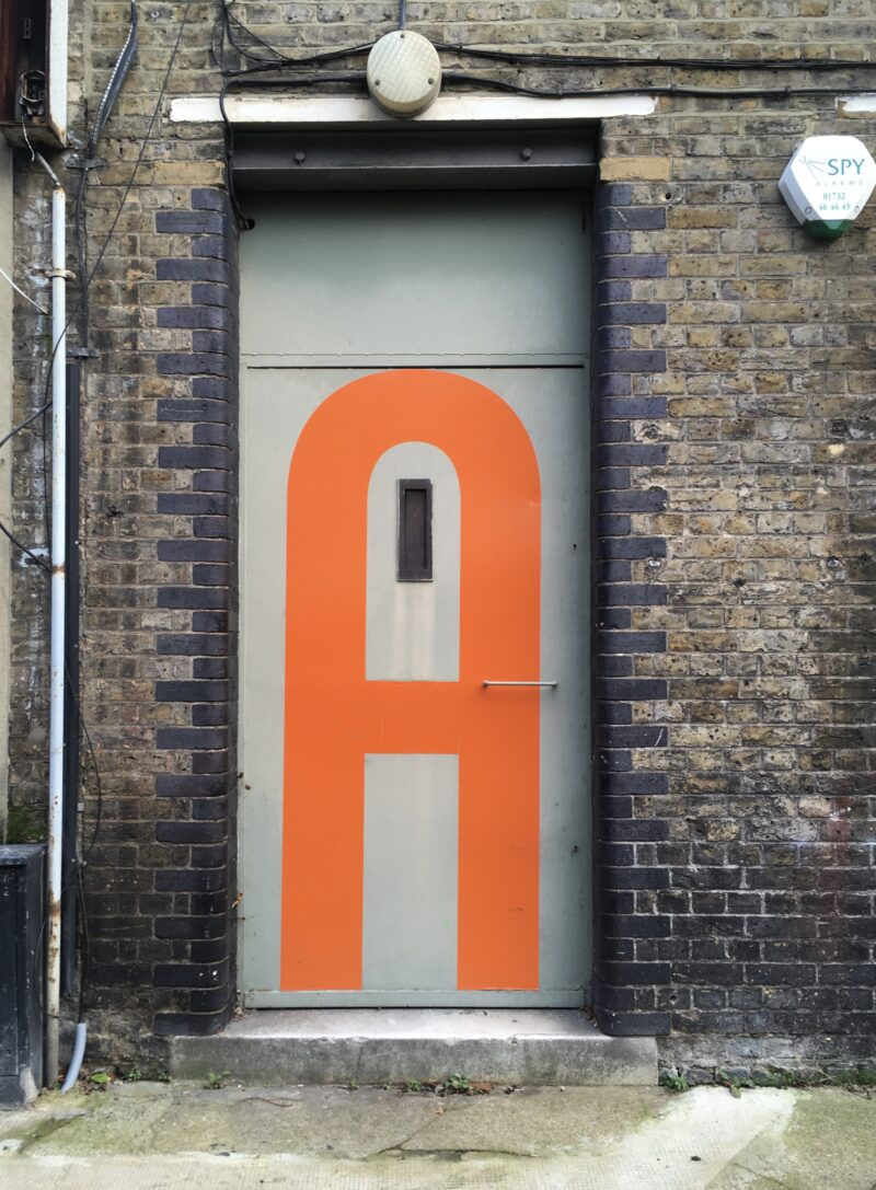 Door with an A on it near London Bridge.