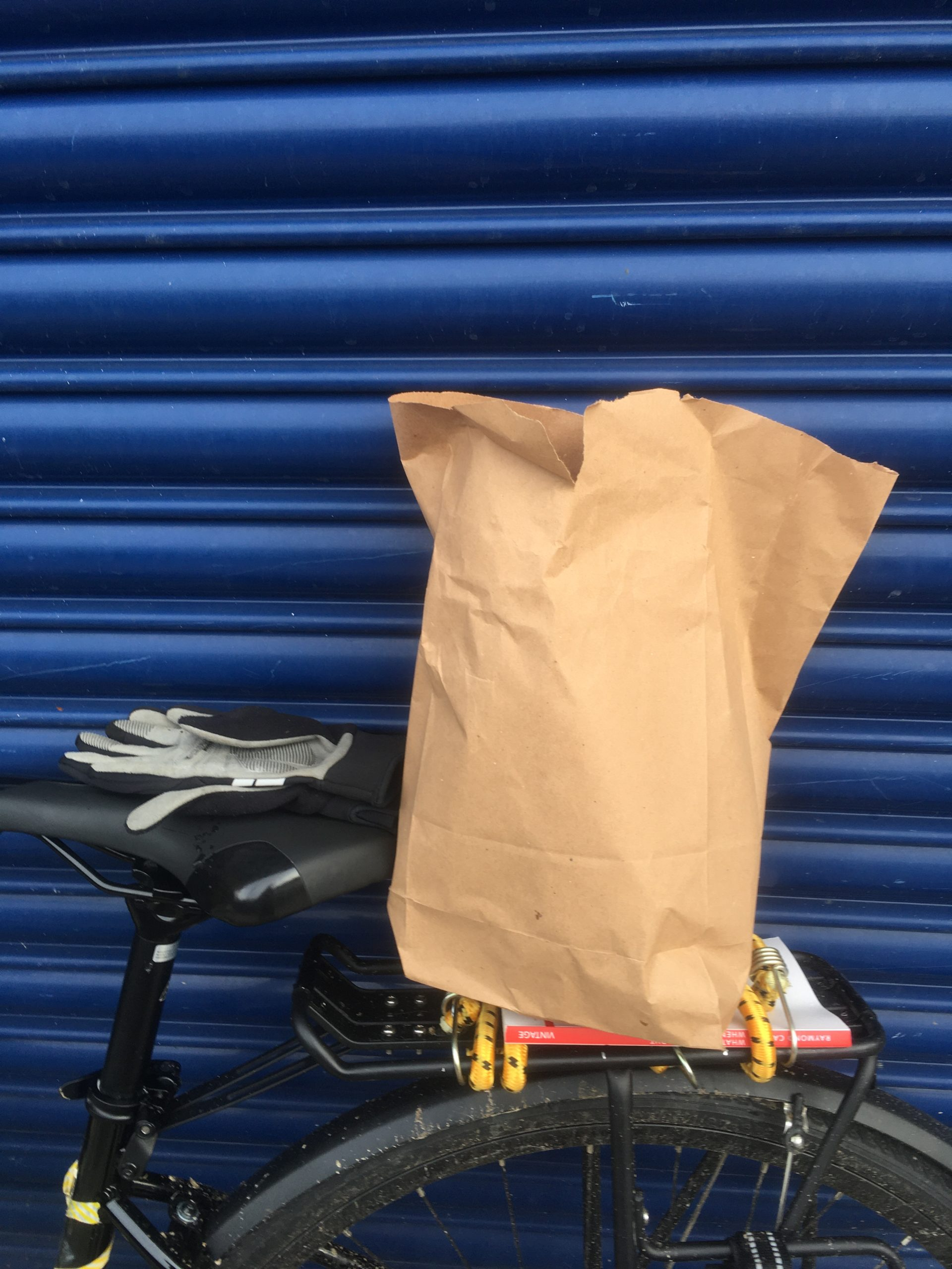 Bag of croissants on the back of my bike