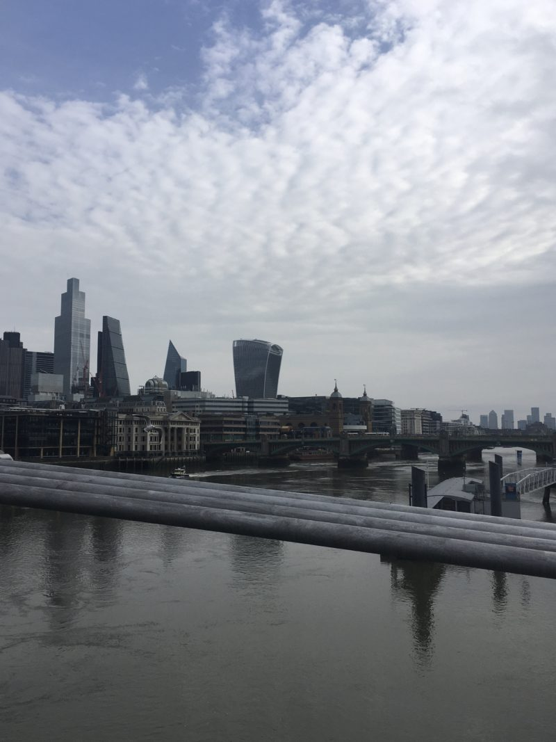 The skyline from the Millenium Bridge in London